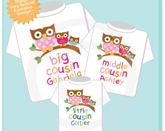 Set of Three Big Cousin Girl Owl Shirt, Middle Cousin Girl Owl Shirt, and Little Cousin Boy Owl Shirt or Onesie (12232013a)