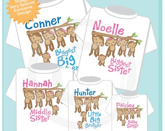 Sibling Monkey Shirt Set of Five, Biggest Big Brother Shirt Biggest Sister Middle Sister, Little Big Brother, and Baby Sister (02242014c)