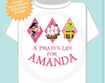 Girl Pirate Shirt, Personalized Pirate Shirt, A Pirates Life Shirt or Onesie with Your Child's Name (08282012b)
