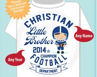 Little Brother Shirt, Little Brother Football Tee Shirt or Little Brother Onesie Pregnancy Announcement, Football Little Brother (05192014f)