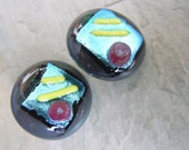 """Fused Glass Buttons, Art Buttons, Sewing Buttons, Knitting Supplies, Grey, Aqua, Red, Yellow, Dichroic, Round, 3/4"""" Set of 2"""