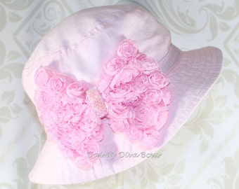 INFANT Girls Pink Sunhat with Beautiful Chiffon Bow Embellishment