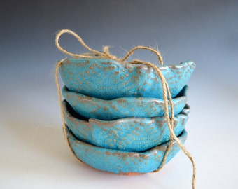 Ceramic Bowls in Turquoise - dinnerware ceramic plates - organic shaped icecream Bowls
