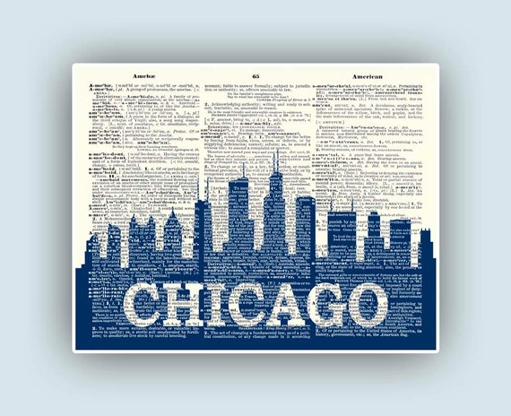 , Chicago print, Personalized City skyline, Wedding gift, Chicago ...