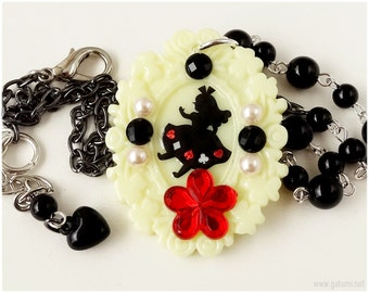 Alice in Wonderland, Resin Cameo Necklace, Black and Red - Gothic Lolita, Fantasy Jewelry
