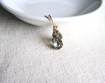 Glass Jewel Earrings Vintage Cut Gems Smoky Grey Gray Teardrop Estate Style Minimalist Modern Bridal Jewelry Sparkly