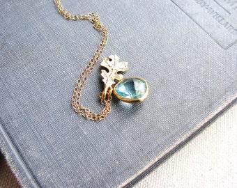 Aqua Bezel Jewel Necklace Gold Filled Oak Leaf Jewel Aquamarine Blue March Birthday Botanical Glass Briolette Naturalist Minimalist Bridal