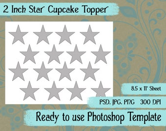 Scrapbook Digital Collage Photoshop Template, Star Cupcake Toppers Collage