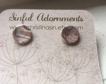 Sterling Silver Mokume Gane Small Stud Earrings