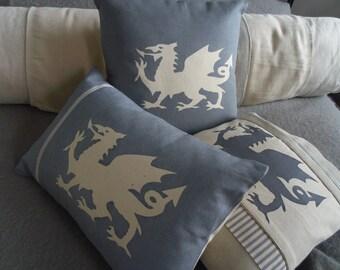 hand printed  dragon cushion cover