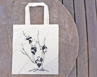 Pandas in a Tree Musical Bliss  Drawn Design on Natural Cotton Tote