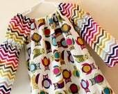 Girls Dress, Peasant Dress: Rainbow Chevron and Owls, Back to School , Choose your Size and Sleeve