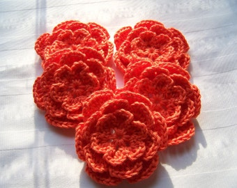 Appliques 5 hand crochet flower 3inch cotton grapefruit