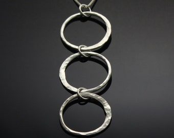 Silver Three Circles Necklace // Hammered Sterling Silver Open Circles Pendant