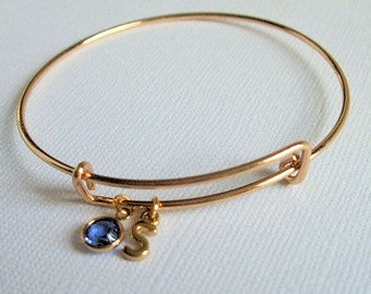 Birthstone Initial Bangle Bracelet Gold, Birthstone Charm, Birthday, Adjustable, Initial Charm, Personalize, Stackable