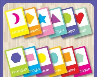 Shapes Basics Flash Cards - Printable toddler, pre k, nursery decor, teaching material, educational printables, home school