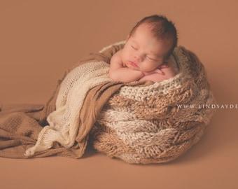 Cabled Weave Basket Photo Prop {Caramel Mocha}