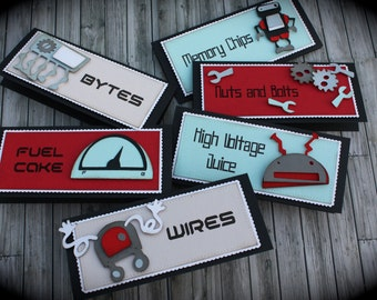 ROBOT themed Food Tents...Menu Cards....Place Cards...Food Signs - set of 6