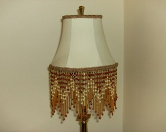 Wood and Glass Bead Fringe Lampshade