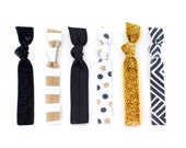 The Ampersand Package - 6 Elastic Glitter Stripe Polka Dot Hair Ties that Double as Bracelets by Mane Message on Etsy