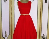Vintage 1960's RED Wool Dress Jumper with Full Skirt. Small to Medium.