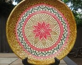 Pasta Serving Bowl, Large and Low, Double Doily Texture Christmas colors