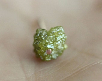 Raw Yellow Green Diamond In Recycled 14K Rose Gold Earring, Ear Stud, Birthstone, Eco-Friendly (B) - Ship In The Next 9 Days