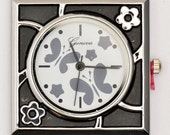 Watch Face Butterflies and Stars Square Silvertone