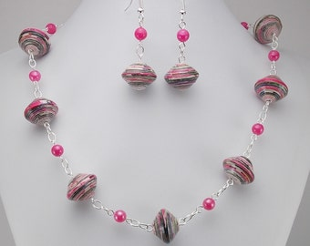 Paper Bead Necklace and Earring Set - Rwandan Paper Beads - Pink Stripes