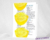 MOTHER'S DAY CARD, Lemon, Mothers Day, Cute Lemon, Kitchen Art, Recipe