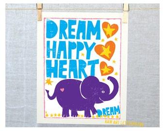 Elephant Nursery Wall Art, Cute Elephant print, Dream Big Elephant, Circus theme, Ganesh