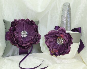 Dark Purple Silver Gray Wedding Ring Bearer Pillow and Basket Set