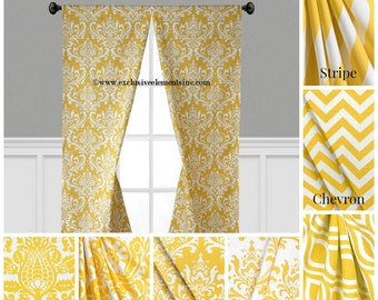 Modern Yellow Curtain Panels Modern Geometric Chevron Damask Stripe Drapery Window Treatments Set Pair