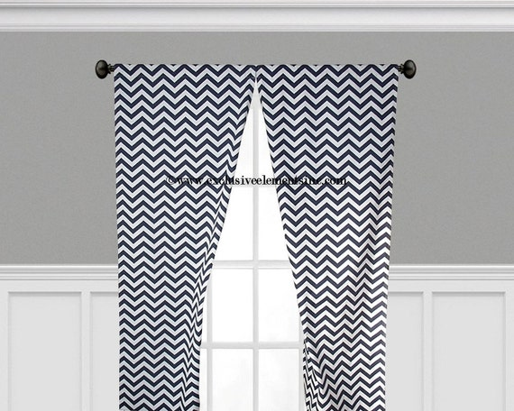 navy chevron curtains navy blue curtain by exclusiveelements