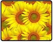 Medium sized (twin size) polar fleece sunflowers blanket