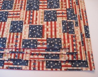 American Flag Reversible Placemats Red White and Blue Placemats Waving American Flag Placemats Old Country Flag Placemats