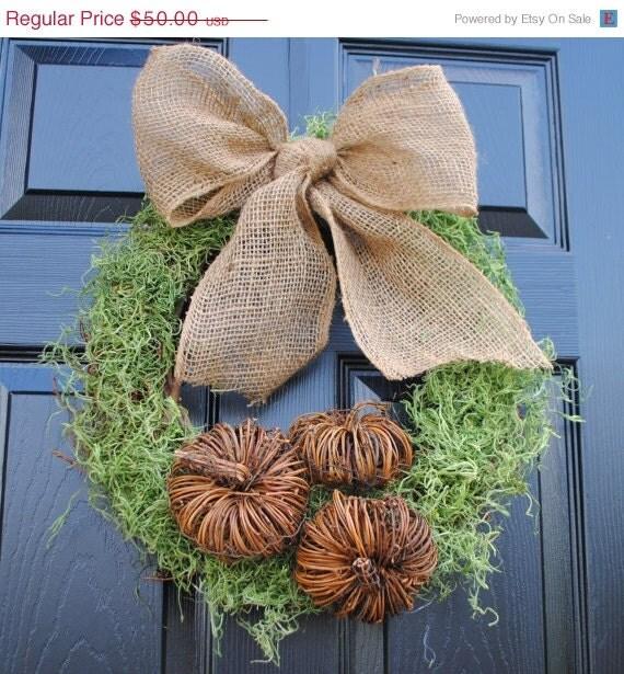 Blowout Sale- Fall Wreath-Burlap and Moss Autumn Wreath, Fall Decor, Twig Wreath
