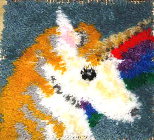 Rainbow Unicorn 12X12 Latch Hook Kit Free Shipping