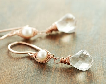 Rose Gold Pearl Gemstone Dangle Earrings, Wire Wrap Quartz Twist Pearl Earrings, Gold Wedding Jewelry