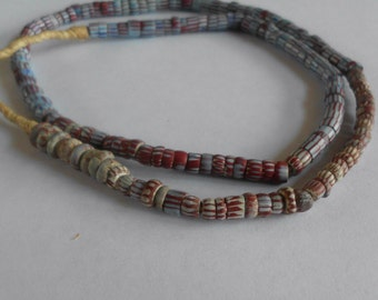 Antique Trade Beads- Glass- Rare Blue- Rust- Tribal- Primitive- Rustic- 1700's-  #13C