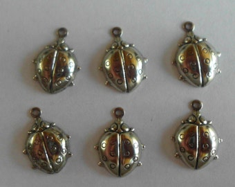 Ladybugs- Vintage Charms- Stamping- Garden Critters- Silver Plated- Brass- Set of 6