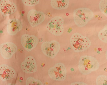 Yuwa Vintage Inspired Animals on Pale Pink AT812896-A Cotton Fabric