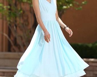Woman maxi dress wedding dress bridesmaid dress in blue for summer (1001)