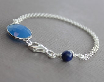 Framed indigo blue color chalcedony stone with lapis connector sterling silver bracelet - Stone bracelet