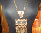 Vintage Mexican Copper Brass 3-piece Indian Warrior Necklace