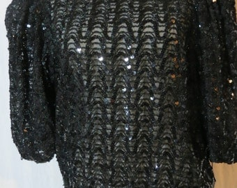 Vintage 1980s Black Beaded Sequined Somewhat Sheer Holiday Christmas Party Top - Size Large