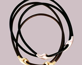 Dove hand sterling silver and leather neckpiece
