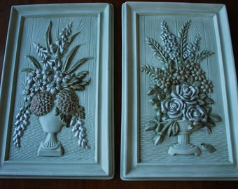 Vintage Raised Relief Floral Chalkware Wall Plaques - 1960's - Ceramics - Cottage Chic - Woodland