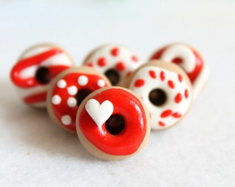 Red & White Donut Push Pins, Set of 6