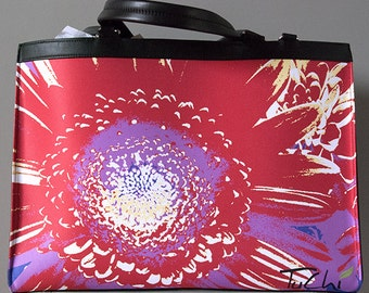 LAPTOP TOTE - FLORAL - Abstract Photography -  Women's Large Sectional Art Bag.  Shown in Extreme Brick Image Design.